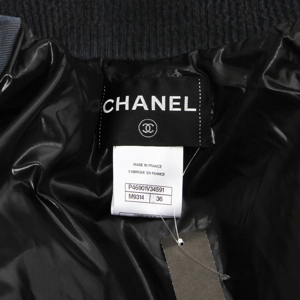 "Chanel Navy Blue Corduroy ""Puffer"" Jacket"