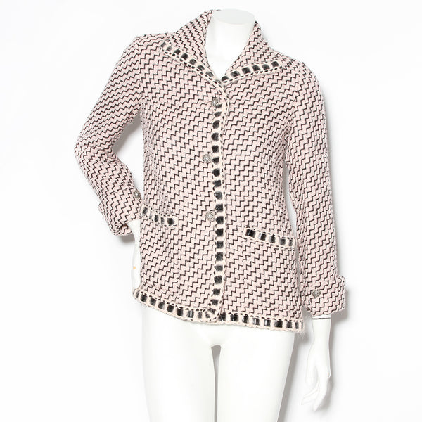 Chanel Light Pink Tweed Zig Zag Pattern Jacket