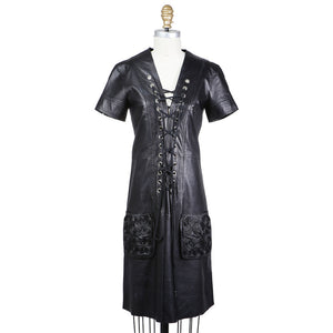 Lace Up Front Leather Dress