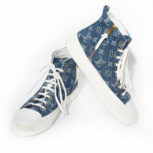 Louis Vuitton Denim Monogram High Top Sneaker