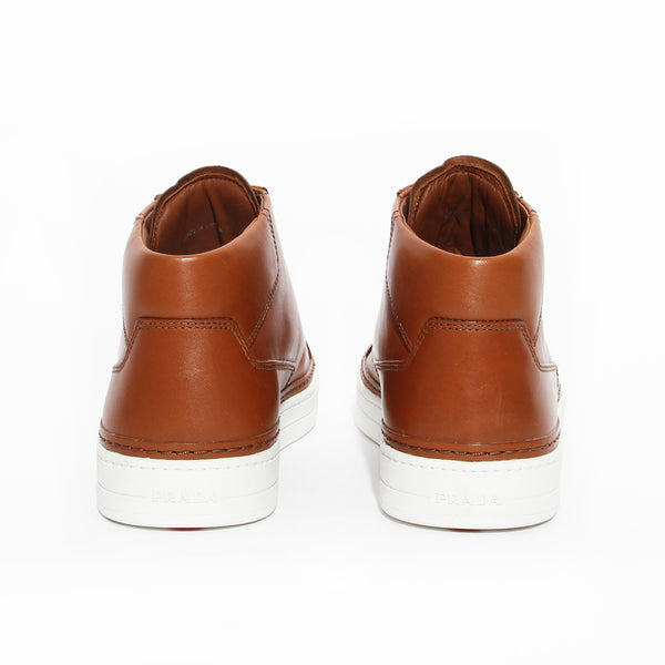 Prada Brown Leather High Top Sneaker
