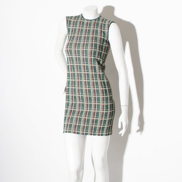Celine Knit Plaid Shift Dress