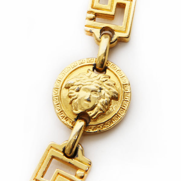 Versace Gold Greek Key Chain Necklace with Oversize Medusa Medallion FW1992