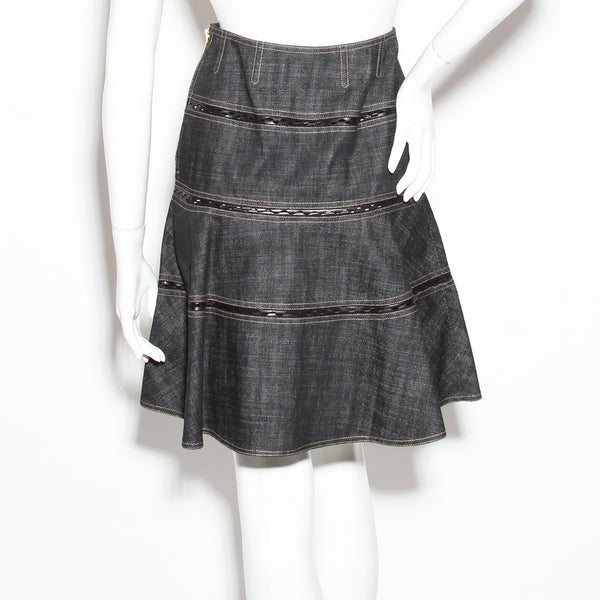 Alaia Denim Fit and Flare Skirt