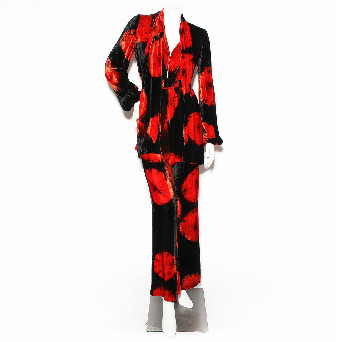 "Halston Black and Red Print Velvet ""Pajama"" Wrap Top and Pant Set"