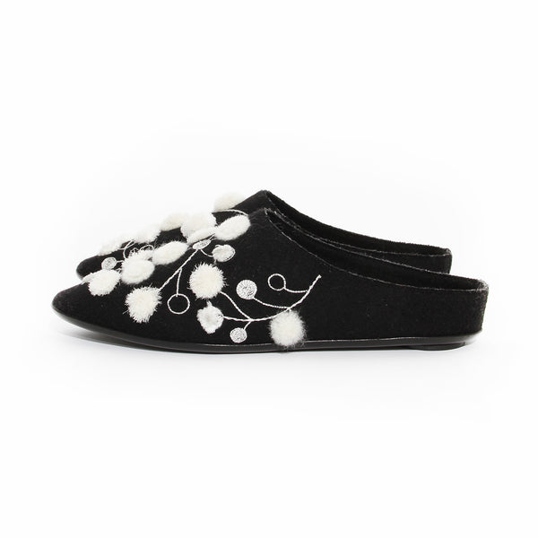The Row Black Felt Embroidered Mule