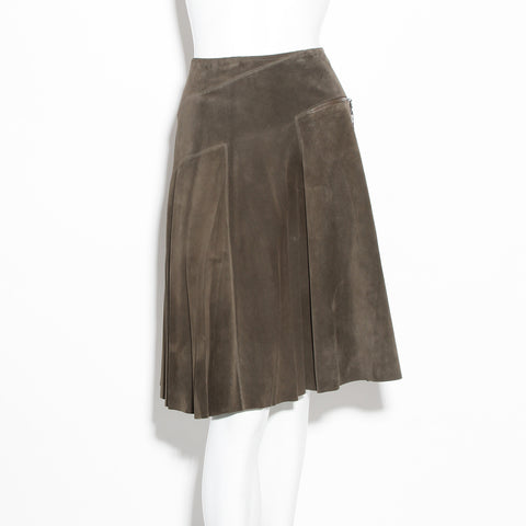 Alaia Suede Pleated Skirt