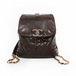 Chanel Brown Quilted Lambskin Backpack
