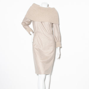 Brioni Cowl-neck Ribbed Dress