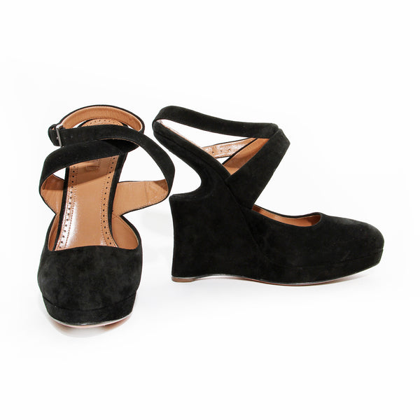 Alaïa Black Suede Sculptural Wedge Heel