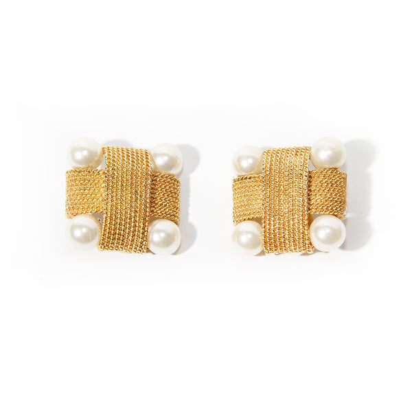 Valentino Gold Square Earrings with Pearls