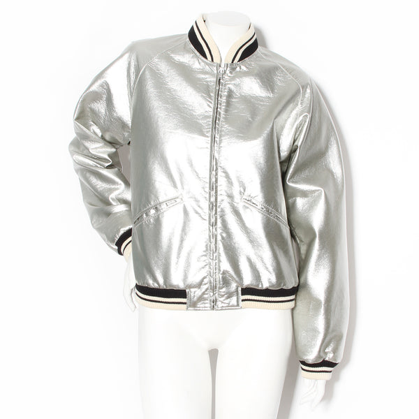 Saint Laurent Paris Silver Teddy Bomber Jacket SS2014