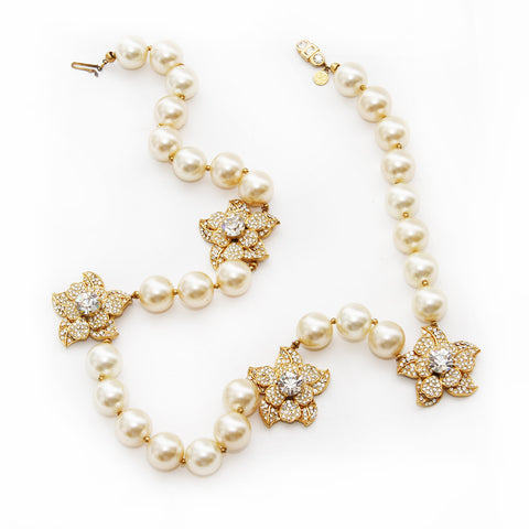 Valentino Pearl and Crystal Flower Necklace