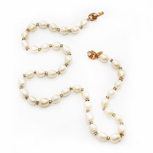 Chanel Pearl Necklace with Rhinestone Details
