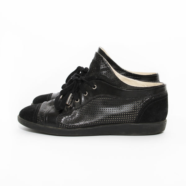 Chanel Black Perforated Leather Sneaker