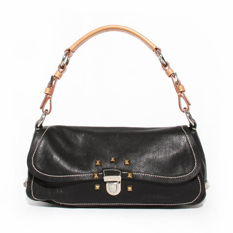 Prada Black Borchie Studded Shoulder Bag