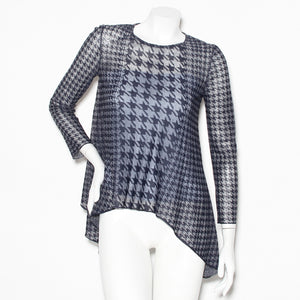 Dior Houndstooth Long Sleeve Blouse