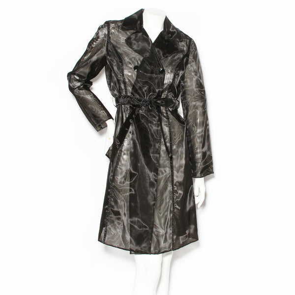 Alberta Ferretti Black Nylon Mesh Trench Coat