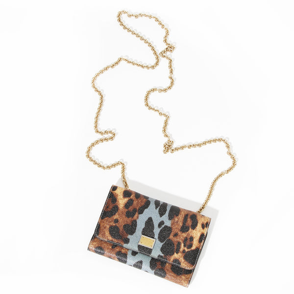 Dolce & Gabbana Leather Leopard Print Wallet on a Chain