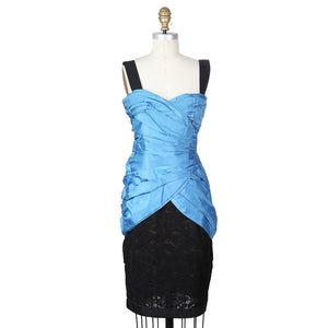 Haute Couture Blue Taffeta Dress with Black Lace