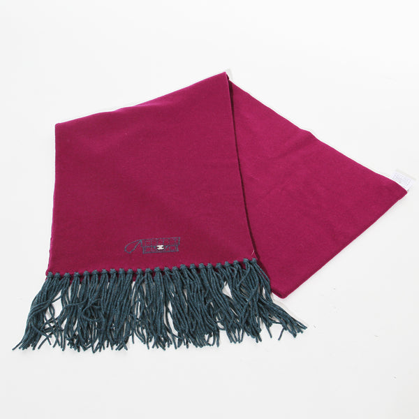 Chanel Fringe Scarf (Berry and Green)