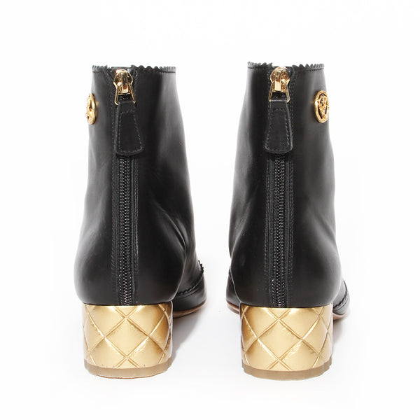 Chanel Black Booties with Gold Quilted Heel Pre-Fall2015