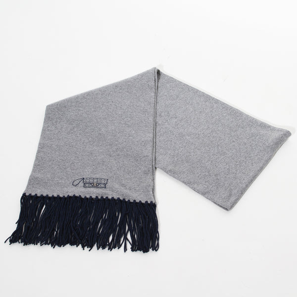 Chanel Fringe Scarf (Navy and Grey)