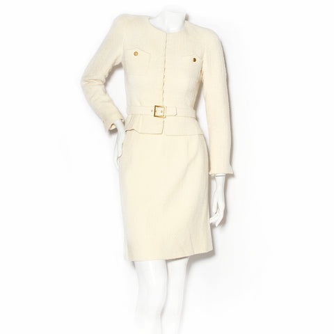Chanel Ivory Bouclé Skirt Suit