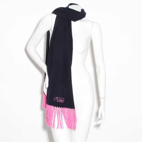 Chanel Fringe Scarf (Black and Pink)