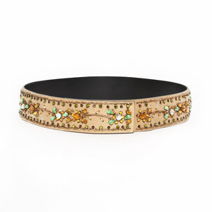 Dolce & Gabbana Suede and Crystal Embellished Belt