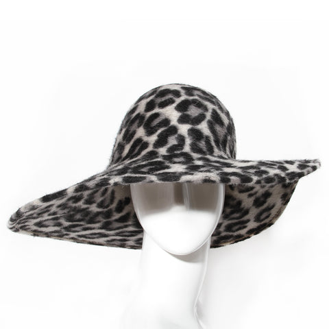 Philip Treacy Leopard Print Wide Brim Hat