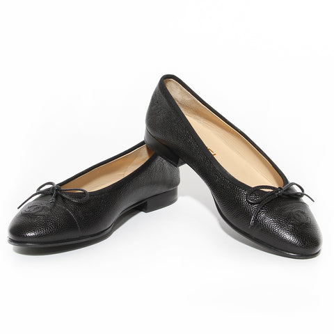 "Chanel Black Caviar Leather ""Ballerinas"" Flat"
