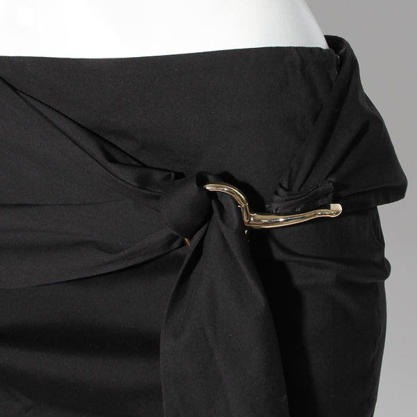 Gucci Black Cotton Pencil Skirt with Silver Horsebit