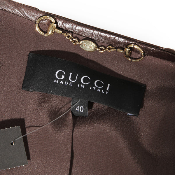 Gucci Leather Ruffle Tier Jacket