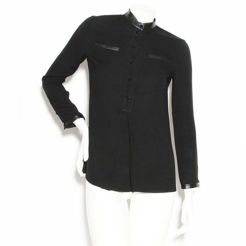 Gucci Black Leather Trim Tunic Blouse