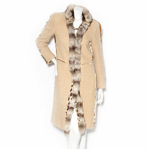 Roberto Cavalli Wool Duster Coat with Fur Collar