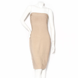 Thierry Mugler Tan Strapless Knit Bodycon Dress