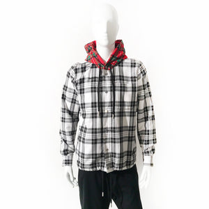 Off-White Multi-Plaid Hooded Flannel