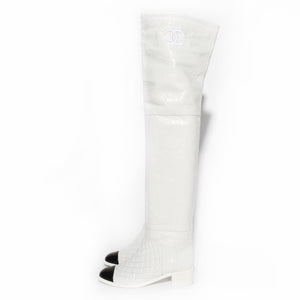 Chanel White Crumpled Calfskin Thigh High Boot