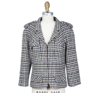 Multi Colored Thread Zip Up Houndstooth Jacket