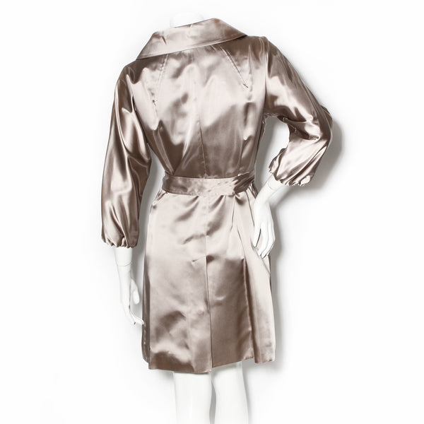 Prada Satin Double Breasted Trench Coat