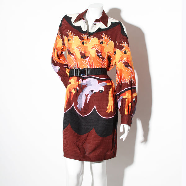 Fendi Belted Parrot Shirt Dress