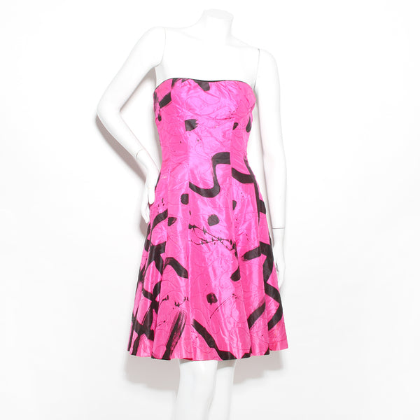 Fabrice Strapless Abstract Print Dress