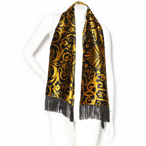 Versace Scarf with Gold Baroque Pattern