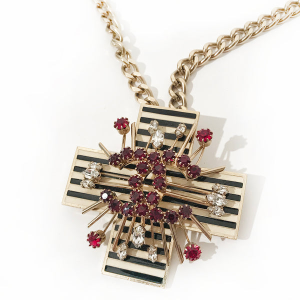 Chanel CC Crystal Cross Necklace