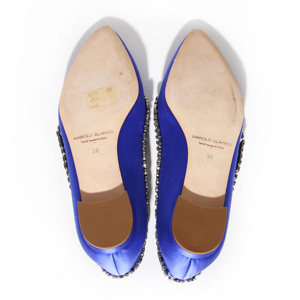Manolo Blahnik Blue Satin Hangisi Flat with Crystal Leaf Detail