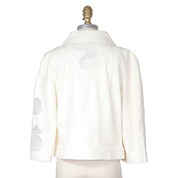 Chanel Leather Jacket with Embroidered Transparent Shells