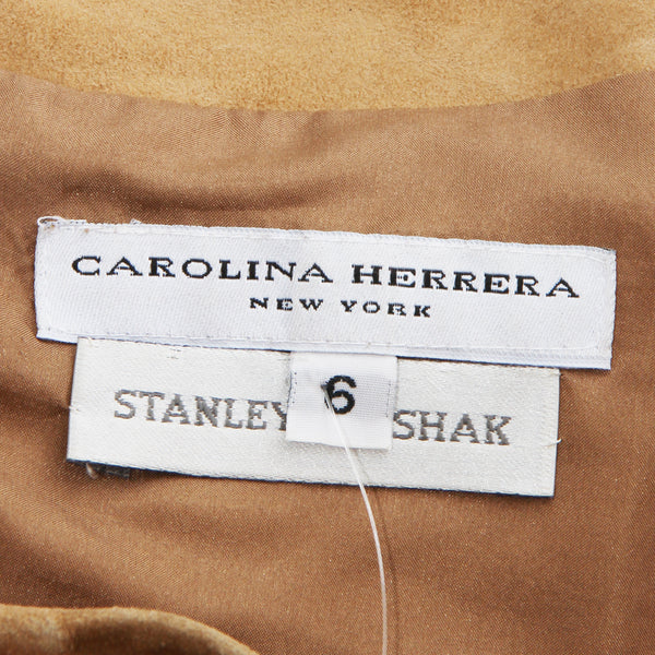 Carolina Herrera Suede Off The Shoulder Blouse