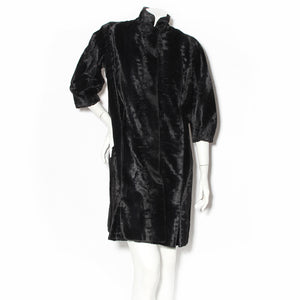 Rudi Gernreich Black Faux Broadtail Cocoon Coat