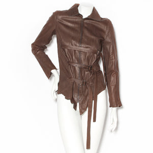 Jean Paul Gaultier Brown Leather Crinkle Jacket